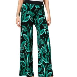 Style & Co Watercolor Palm Wide Leg Pants, Palazzo